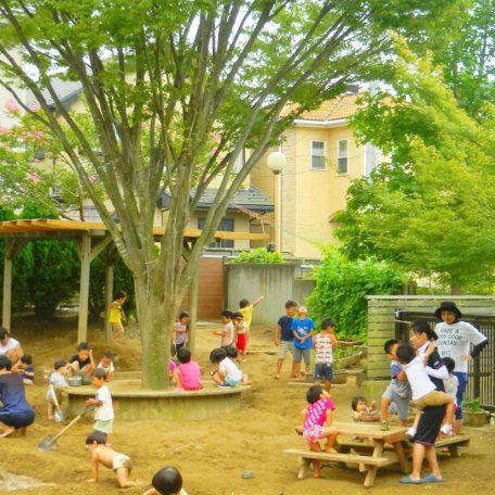 園庭は自然がいっぱい!体を使って遊ぶ子どもたちのサポートをお願いします。